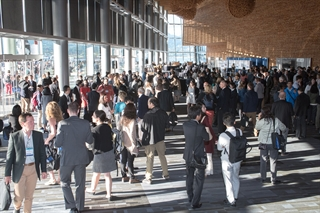 Crowds gather in the foyer at the International Congress held in Vancouver, BC, Canada, June 2017. Photo by Robert Levy