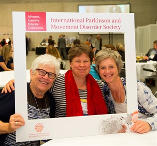 L to R: Ruth Hagestuen, Hanneke Kalf, and Ingrid Sturkenboom have a little fun at the 21st International Congress in Berlin in June 2016. Photo credit: Jens Jeske