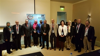 "MDS Ambassador Dr. Esther Cubo, (white jacket) along with Dr. Ali Shalash, and Dr. Tamer Emara, are joined by Egyptian Telemedicine Society representatives and course participants at the 2nd Arab African Telemedicine course ""Towards Equitable Healthcare."" The course was held in Cairo, Egypt, March 12-13, 2018."