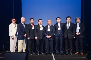 Faculty gather at the Opening Ceremony of the 4th AOPMC held in Pattaya, Thailand, November 2014.
