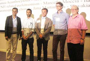 The Bring Your Own Patient Winners with Faculty, from left to right, Prof. Kailash Bhatia, Dr. Jesús Pérez-Pérez, Dr. Marcello Moccia, Dr. Søren Elmgreen, and Prof. Niall Quinn