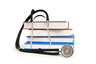 Stethoscope and Textbook